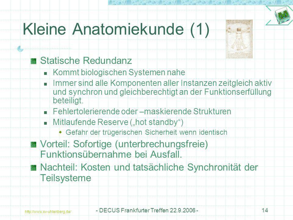 http://www.sv-uhlenberg.de/ - DECUS Frankfurter Treffen 22.9.2006 -14 Kleine Anatomiekunde (1) Statische Redundanz Kommt biologischen Systemen nahe Im