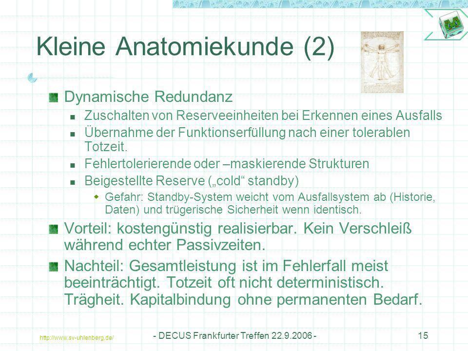 http://www.sv-uhlenberg.de/ - DECUS Frankfurter Treffen 22.9.2006 -15 Kleine Anatomiekunde (2) Dynamische Redundanz Zuschalten von Reserveeinheiten be