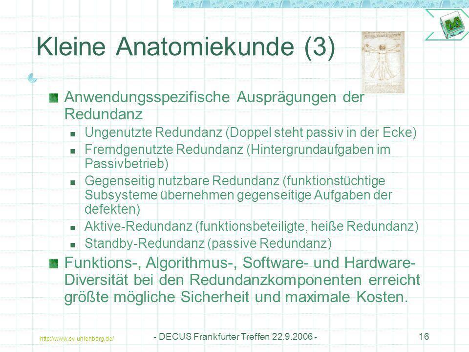 http://www.sv-uhlenberg.de/ - DECUS Frankfurter Treffen 22.9.2006 -16 Kleine Anatomiekunde (3) Anwendungsspezifische Ausprägungen der Redundanz Ungenu