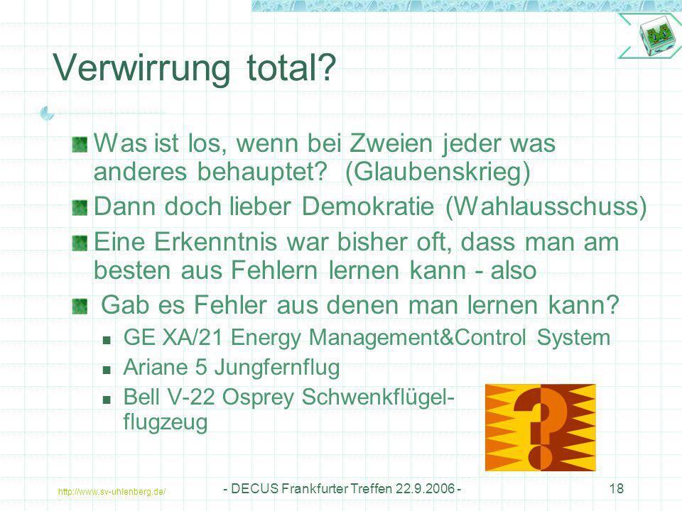 http://www.sv-uhlenberg.de/ - DECUS Frankfurter Treffen 22.9.2006 -18 Verwirrung total? Was ist los, wenn bei Zweien jeder was anderes behauptet? (Gla