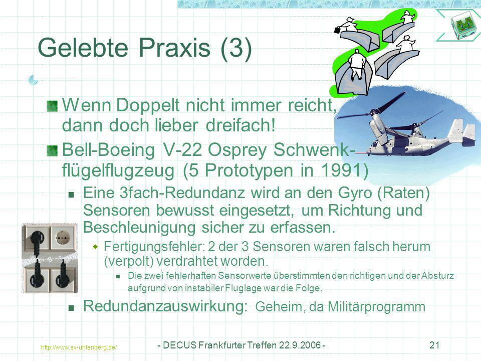 http://www.sv-uhlenberg.de/ - DECUS Frankfurter Treffen 22.9.2006 -21 Gelebte Praxis (3) Wenn Doppelt nicht immer reicht, dann doch lieber dreifach! B