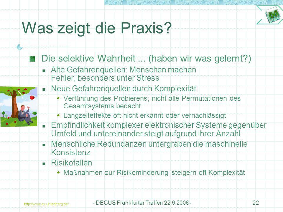 http://www.sv-uhlenberg.de/ - DECUS Frankfurter Treffen 22.9.2006 -22 Was zeigt die Praxis? Die selektive Wahrheit... (haben wir was gelernt?) Alte Ge