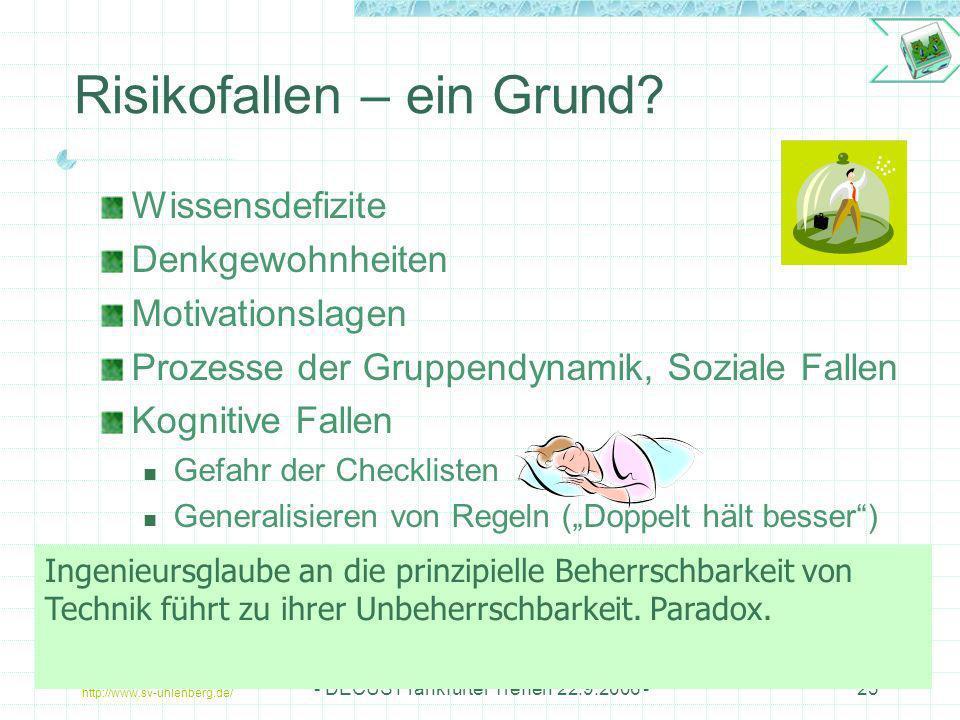 http://www.sv-uhlenberg.de/ - DECUS Frankfurter Treffen 22.9.2006 -23 Risikofallen – ein Grund? Wissensdefizite Denkgewohnheiten Motivationslagen Proz
