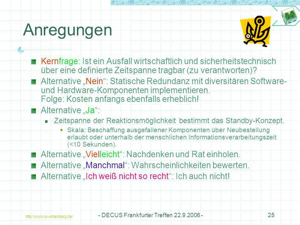 http://www.sv-uhlenberg.de/ - DECUS Frankfurter Treffen 22.9.2006 -25 Anregungen Kernfrage: Ist ein Ausfall wirtschaftlich und sicherheitstechnisch üb