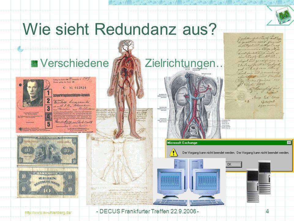 http://www.sv-uhlenberg.de/ - DECUS Frankfurter Treffen 22.9.2006 -15 Kleine Anatomiekunde (2) Dynamische Redundanz Zuschalten von Reserveeinheiten bei Erkennen eines Ausfalls Übernahme der Funktionserfüllung nach einer tolerablen Totzeit.