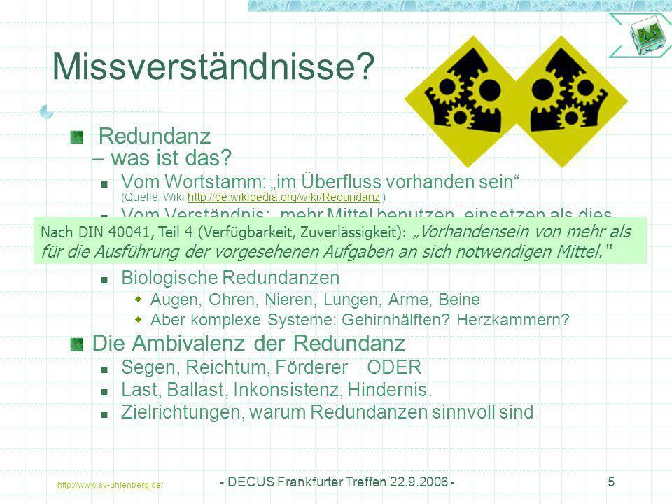 http://www.sv-uhlenberg.de/ - DECUS Frankfurter Treffen 22.9.2006 -6 Zielrichtungen Was soll erreicht werden Ausfallsicherheit Verfälschungssicherheit Reaktionssicherheit Funktionssicherheit Versorgungssicherheit Zustandssicherheit Erhöhung der Verständlichkeit … Sichern Retten