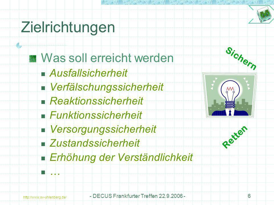 http://www.sv-uhlenberg.de/ - DECUS Frankfurter Treffen 22.9.2006 -6 Zielrichtungen Was soll erreicht werden Ausfallsicherheit Verfälschungssicherheit