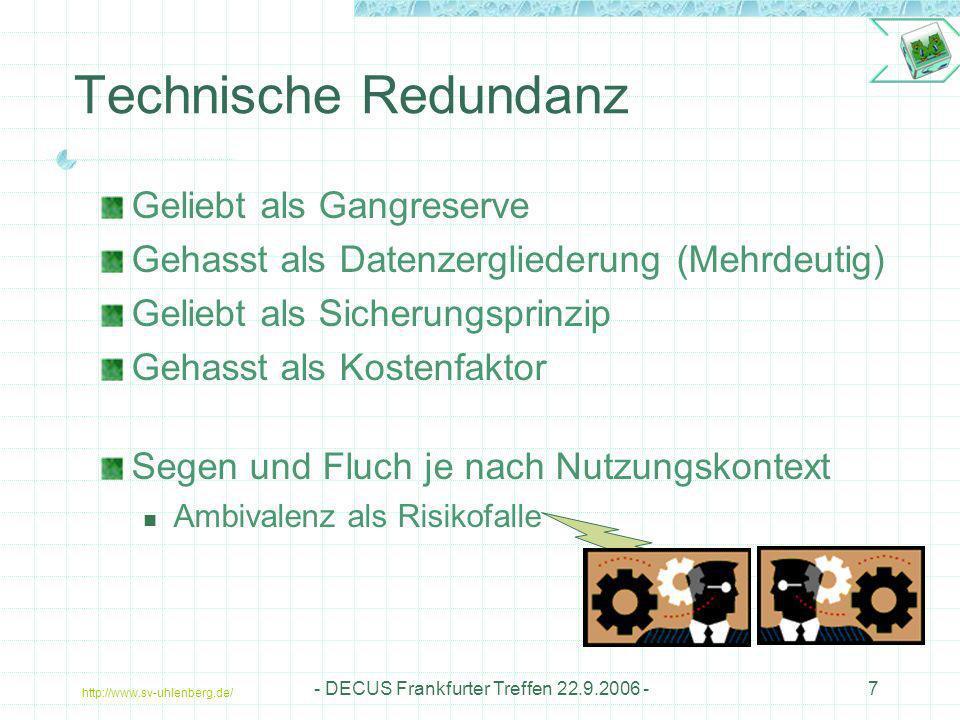 http://www.sv-uhlenberg.de/ - DECUS Frankfurter Treffen 22.9.2006 -28 Referenzen / Quellen Informatik Informatik im Cockpit: Pilot contra Computer http://kbs.cs.tu-berlin.de/publications/presentations/He260399.pdf http://kbs.cs.tu-berlin.de/publications/presentations/He260399.pdf DIN 40041-4, Zuverlässigkeit, Verfügbarkeit, Fehlertoleranz S.