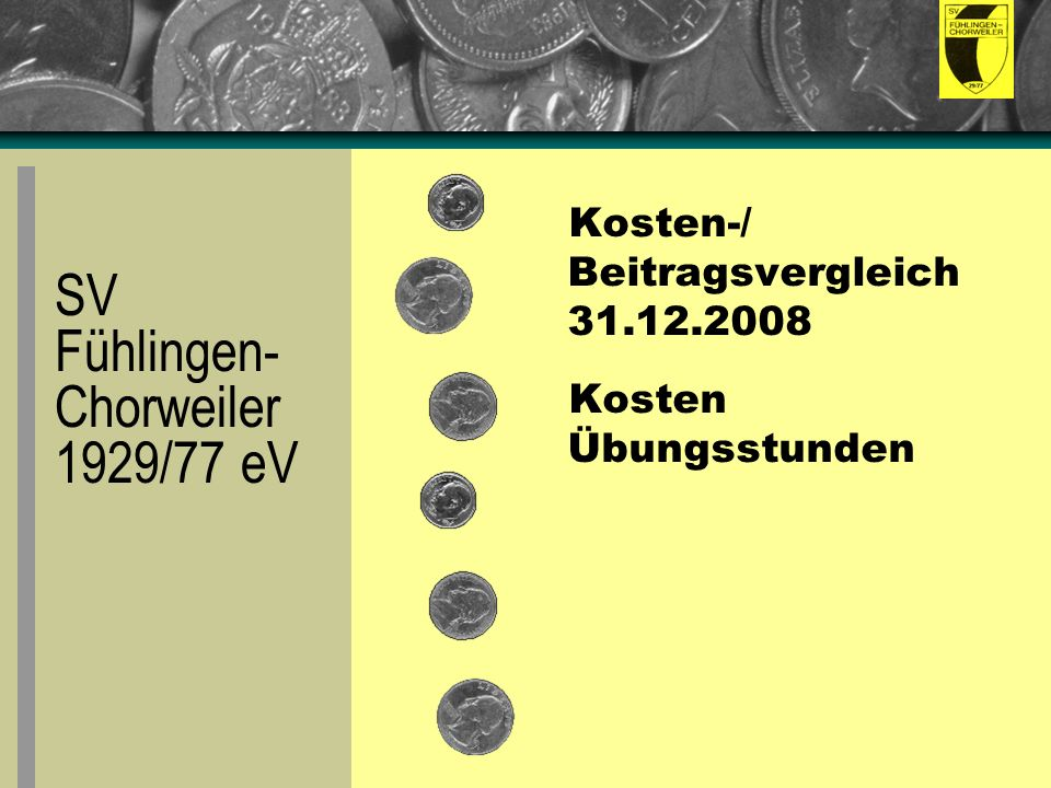 Kosten-/ Beitragsvergleich 31.12.2008 Kosten Übungsstunden