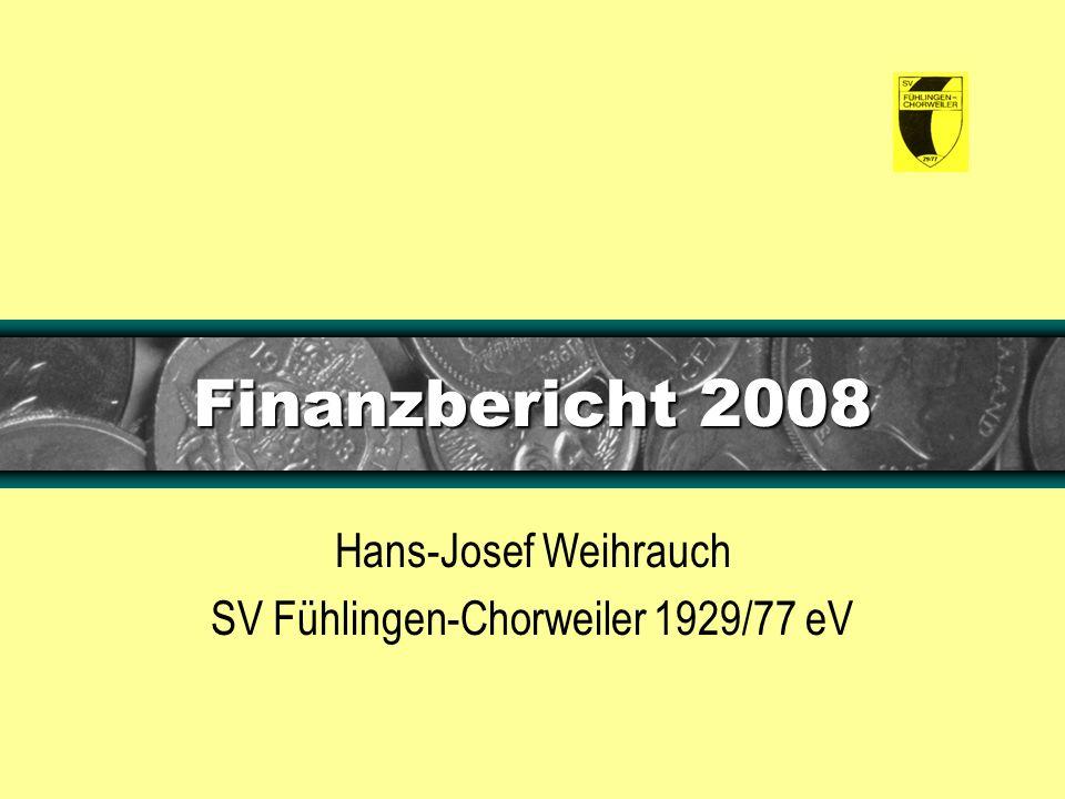 Finanzbericht 2008 Hans-Josef Weihrauch SV Fühlingen-Chorweiler 1929/77 eV
