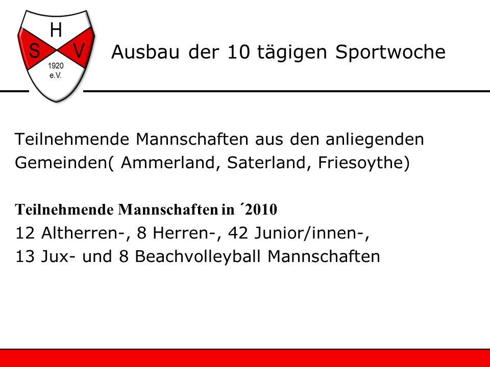 Ausbau der 10 tägigen Sportwoche Teilnehmende Mannschaften aus den anliegenden Gemeinden( Ammerland, Saterland, Friesoythe) Teilnehmende Mannschaften