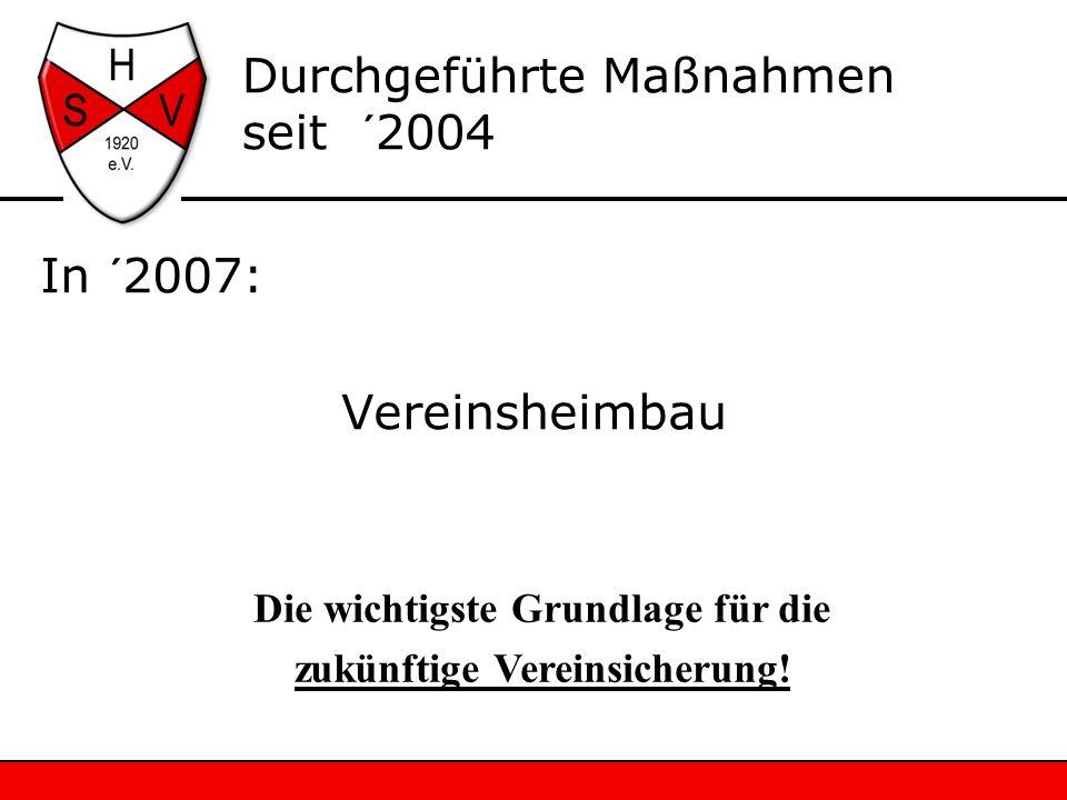 In ´2007: Vereinsheimbau Durchgeführte Maßnahmen seit ´2004 Die wichtigste Grundlage für die zukünftige Vereinsicherung!