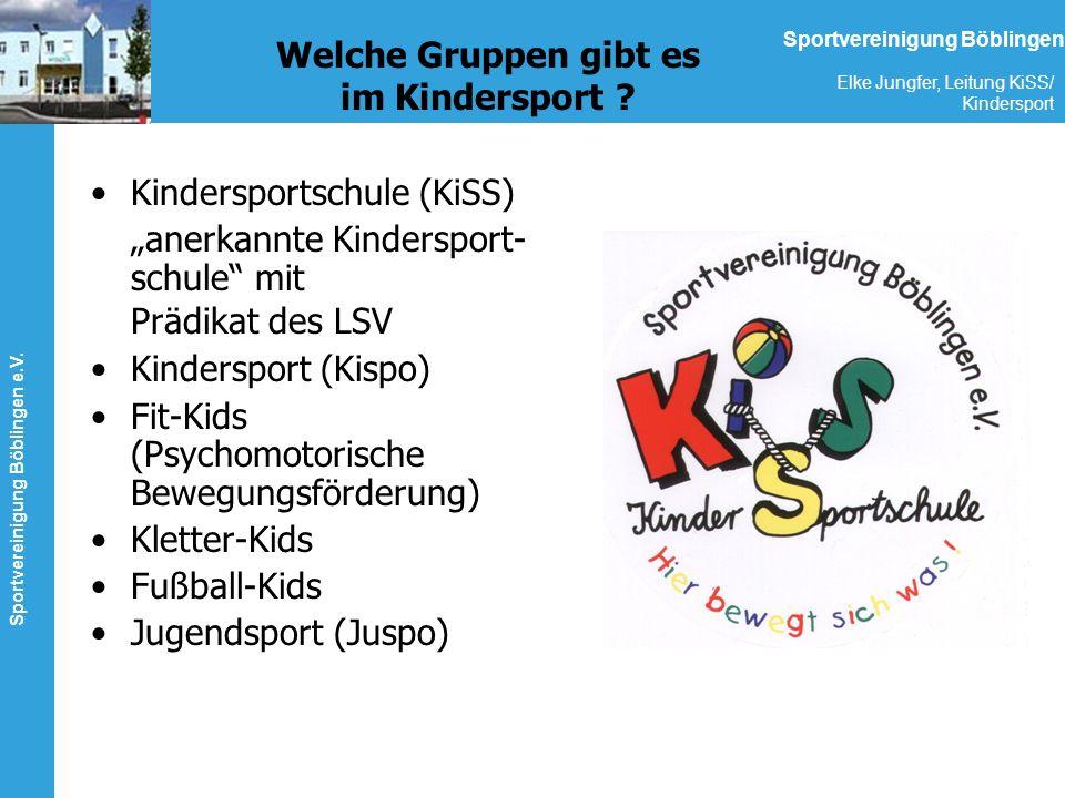 Sportvereinigung Böblingen e.V. Elke Jungfer, Leitung KiSS/ Kindersport Sportvereinigung Böblingen Welche Gruppen gibt es im Kindersport ? Kindersport