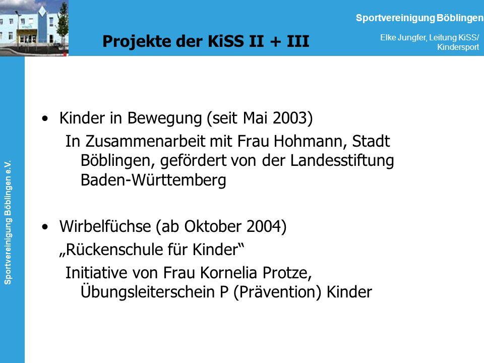Sportvereinigung Böblingen e.V. Elke Jungfer, Leitung KiSS/ Kindersport Sportvereinigung Böblingen Projekte der KiSS II + III Kinder in Bewegung (seit