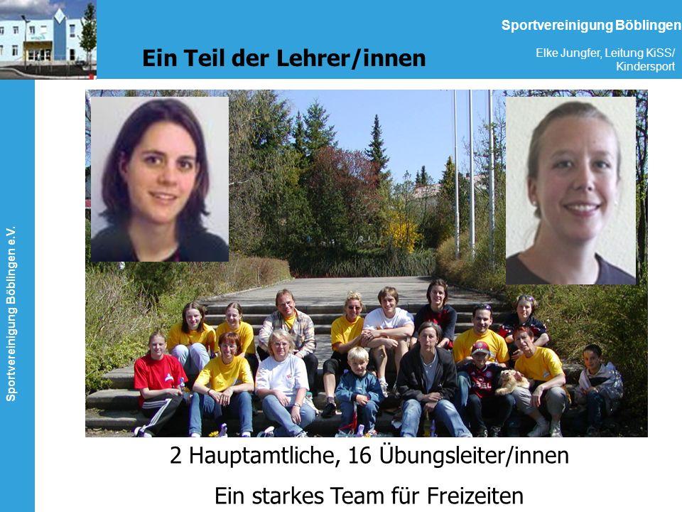Sportvereinigung Böblingen e.V. Elke Jungfer, Leitung KiSS/ Kindersport Sportvereinigung Böblingen Ein Teil der Lehrer/innen 2 Hauptamtliche, 16 Übung