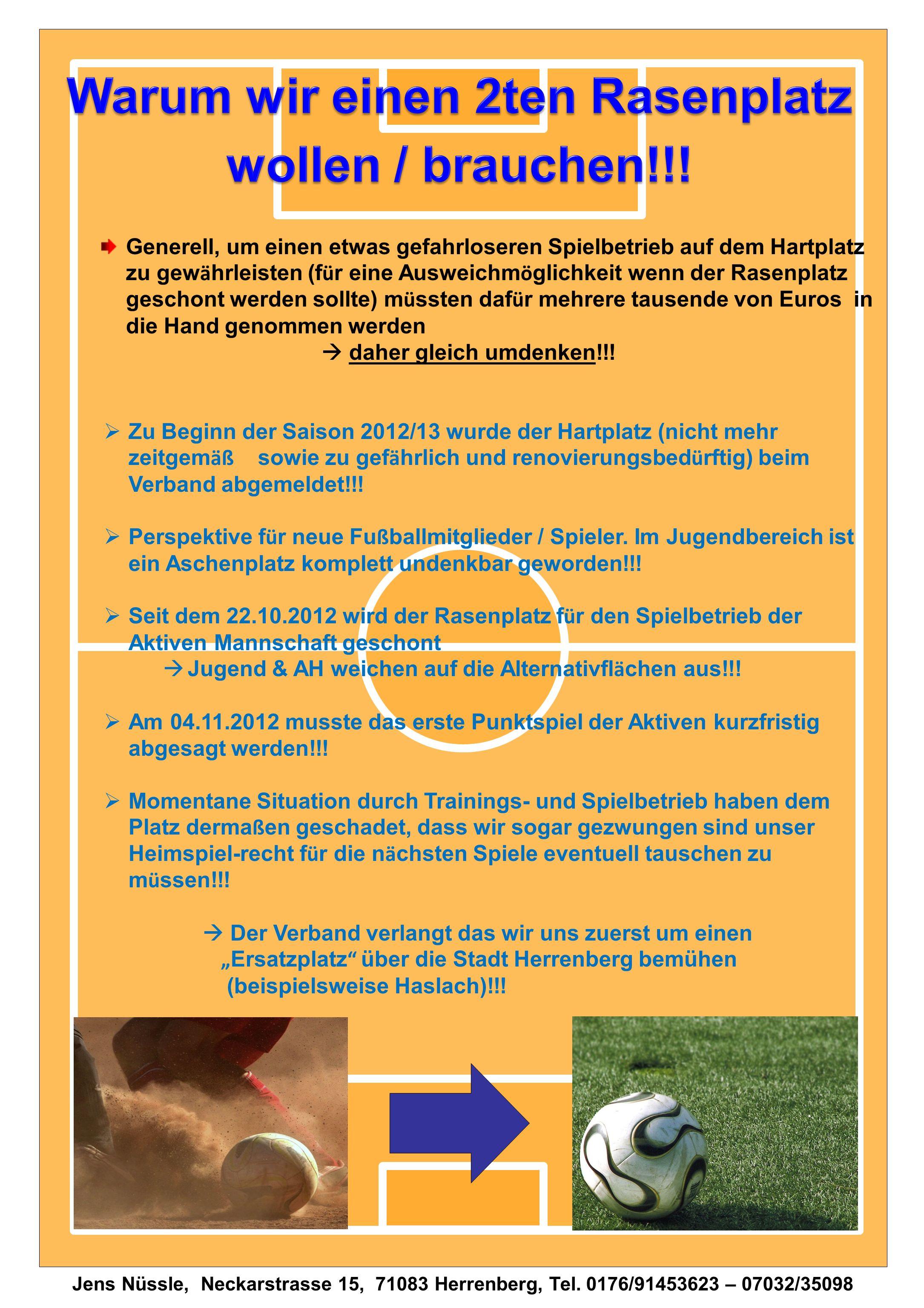 Jens Nüssle, Neckarstrasse 15, 71083 Herrenberg, Tel. 0176/91453623 – 07032/35098 Generell, um einen etwas gefahrloseren Spielbetrieb auf dem Hartplat