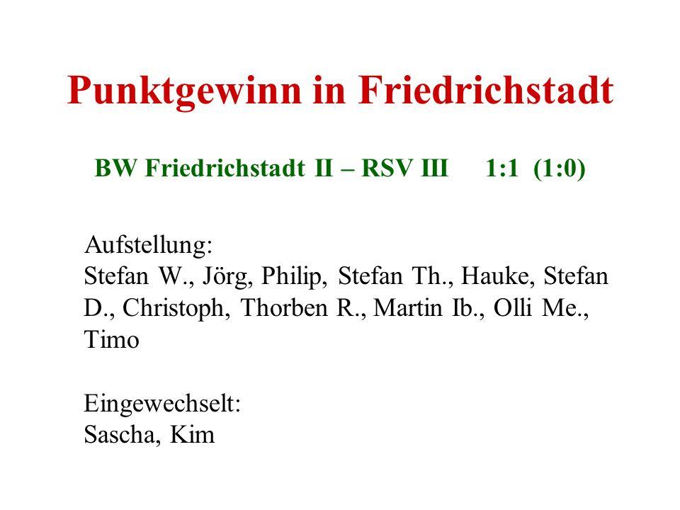 Punktgewinn in Friedrichstadt BW Friedrichstadt II – RSV III 1:1 (1:0) Aufstellung: Stefan W., Jörg, Philip, Stefan Th., Hauke, Stefan D., Christoph,