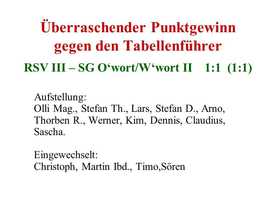Überraschender Punktgewinn gegen den Tabellenführer RSV III – SG Owort/Wwort II 1:1 (1:1) Aufstellung: Olli Mag., Stefan Th., Lars, Stefan D., Arno, T