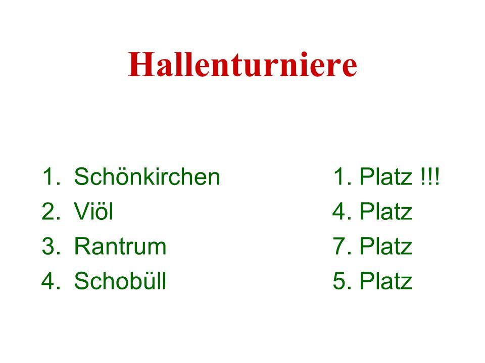 Hallenturniere 1.Schönkirchen1. Platz !!! 2.Viöl4. Platz 3.Rantrum7. Platz 4.Schobüll5. Platz