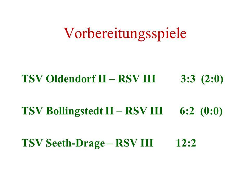 Vorbereitungsspiele TSV Oldendorf II – RSV III 3:3 (2:0) TSV Bollingstedt II – RSV III 6:2 (0:0) TSV Seeth-Drage – RSV III 12:2