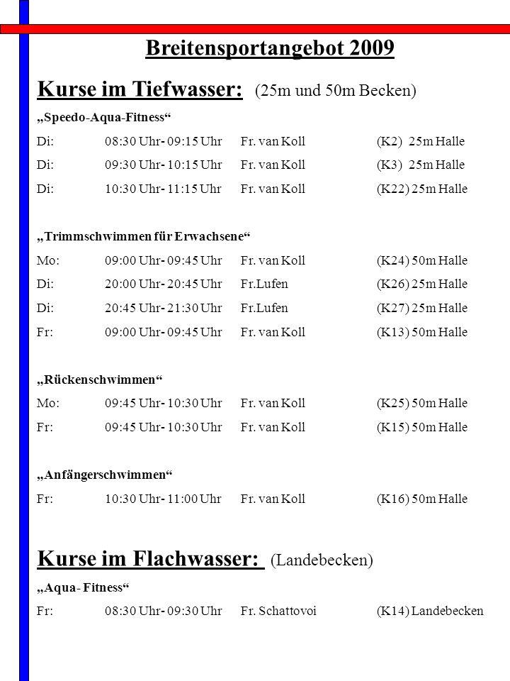 Breitensportangebot 2009 Kurse im Tiefwasser: (25m und 50m Becken) Speedo-Aqua-Fitness Di:08:30 Uhr- 09:15 Uhr Fr.