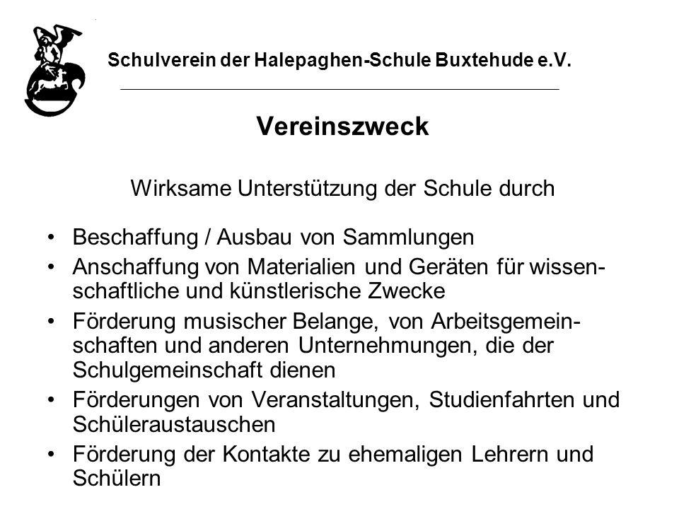 Schulverein der Halepaghen-Schule Buxtehude e.V. Vereinszweck Wirksame Unterstützung der Schule durch Beschaffung / Ausbau von Sammlungen Anschaffung