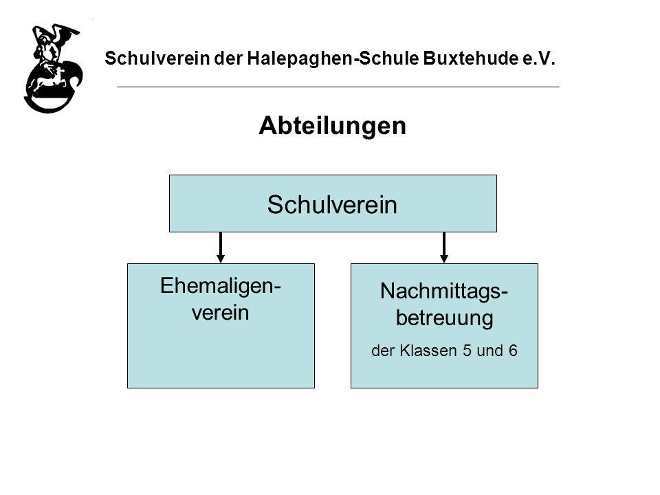Schulverein der Halepaghen-Schule Buxtehude e.V. Abteilungen Schulverein Ehemaligen- verein Nachmittags- betreuung der Klassen 5 und 6