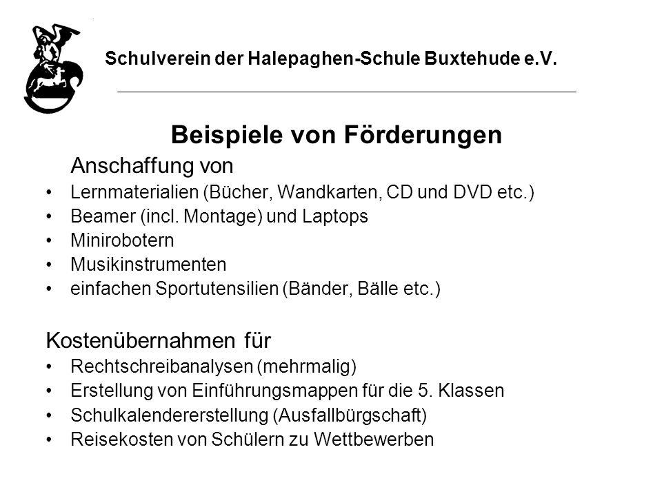 Schulverein der Halepaghen-Schule Buxtehude e.V. Beispiele von Förderungen Anschaffung von Lernmaterialien (Bücher, Wandkarten, CD und DVD etc.) Beame