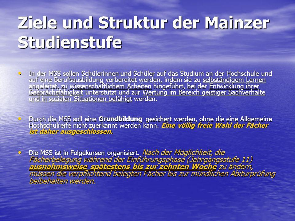 Ziele und Struktur der Mainzer Studienstufe In der MSS sollen Schülerinnen und Schüler auf das Studium an der Hochschule und auf eine Berufsausbildung
