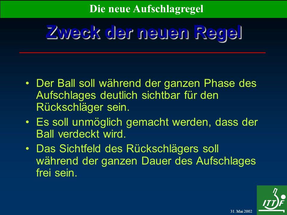 31. Mai 2002 Die neue Aufschlagregel Zweck der neuen Regel Der Ball soll während der ganzen Phase des Aufschlages deutlich sichtbar für den Rückschläg