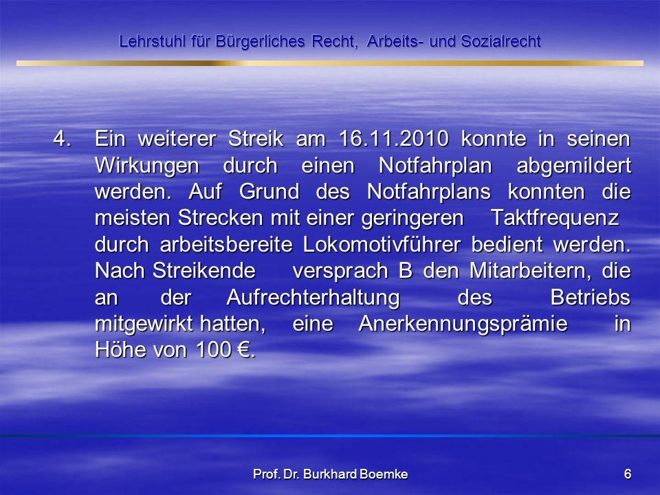 4. Ein weiterer Streik am 16.11.2010 konnte in seinen Wirkungen durch einen Notfahrplan abgemildert werden. Auf Grund des Notfahrplans konnten die mei