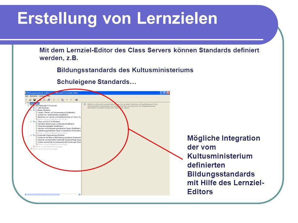 Erstellung von Lernzielen Mögliche Integration der vom Kultusministerium definierten Bildungsstandards mit Hilfe des Lernziel- Editors Mit dem Lernzie