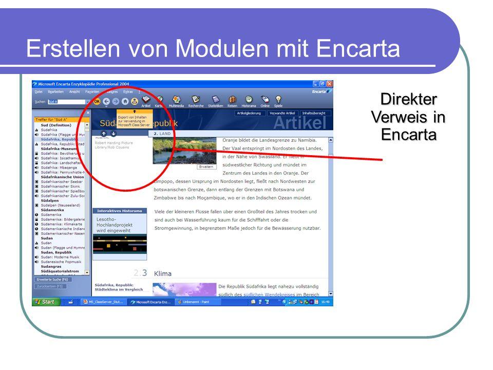 Erstellen von Modulen mit Encarta Direkter Verweis in Encarta