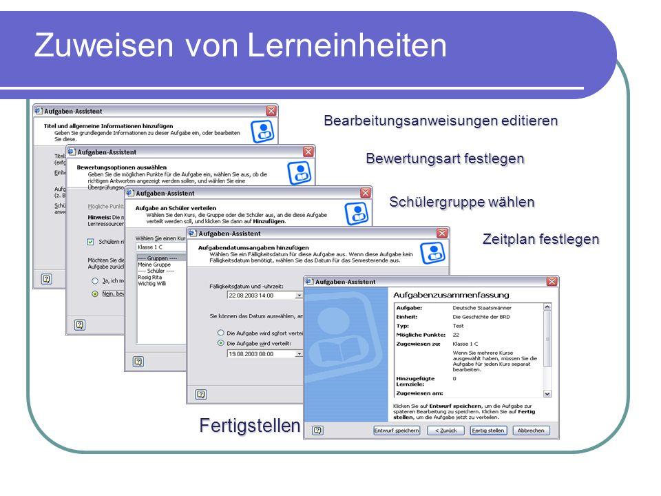 Erstellung von Lernzielen Mögliche Integration der vom Kultusministerium definierten Bildungsstandards mit Hilfe des Lernziel- Editors Mit dem Lernziel-Editor des Class Servers können Standards definiert werden, z.B.