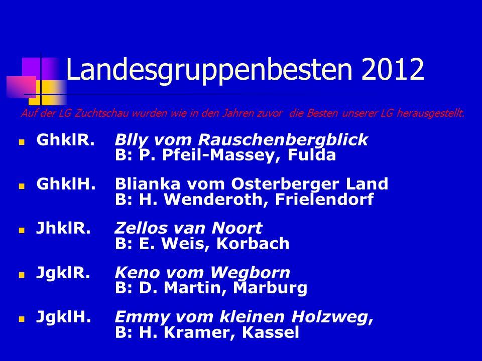 Landesgruppenbesten 2012 Auf der LG Zuchtschau wurden wie in den Jahren zuvor die Besten unserer LG herausgestellt. GhklR. Blly vom Rauschenbergblick