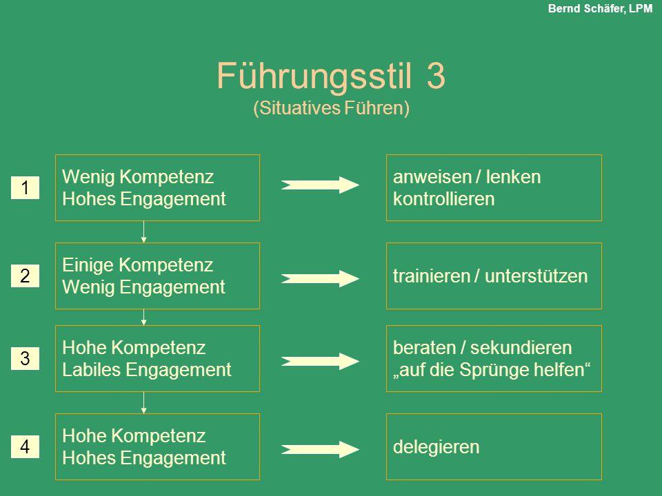 Führungsstil 3 (Situatives Führen) Wenig Kompetenz Hohes Engagement Einige Kompetenz Wenig Engagement Hohe Kompetenz Labiles Engagement Hohe Kompetenz