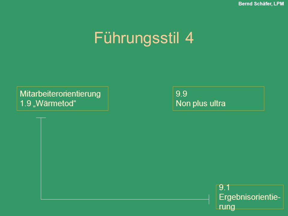 Führungsstil 4 Mitarbeiterorientierung 1.9 Wärmetod 9.9 Non plus ultra 9.1 Ergebnisorientie- rung Bernd Schäfer, LPM