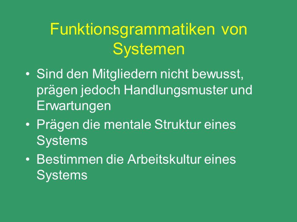 Funktionsgrammatiken von Systemen Sind den Mitgliedern nicht bewusst, prägen jedoch Handlungsmuster und Erwartungen Prägen die mentale Struktur eines
