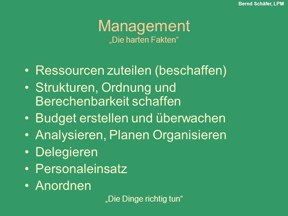 Management Die harten Fakten Ressourcen zuteilen (beschaffen) Strukturen, Ordnung und Berechenbarkeit schaffen Budget erstellen und überwachen Analysi