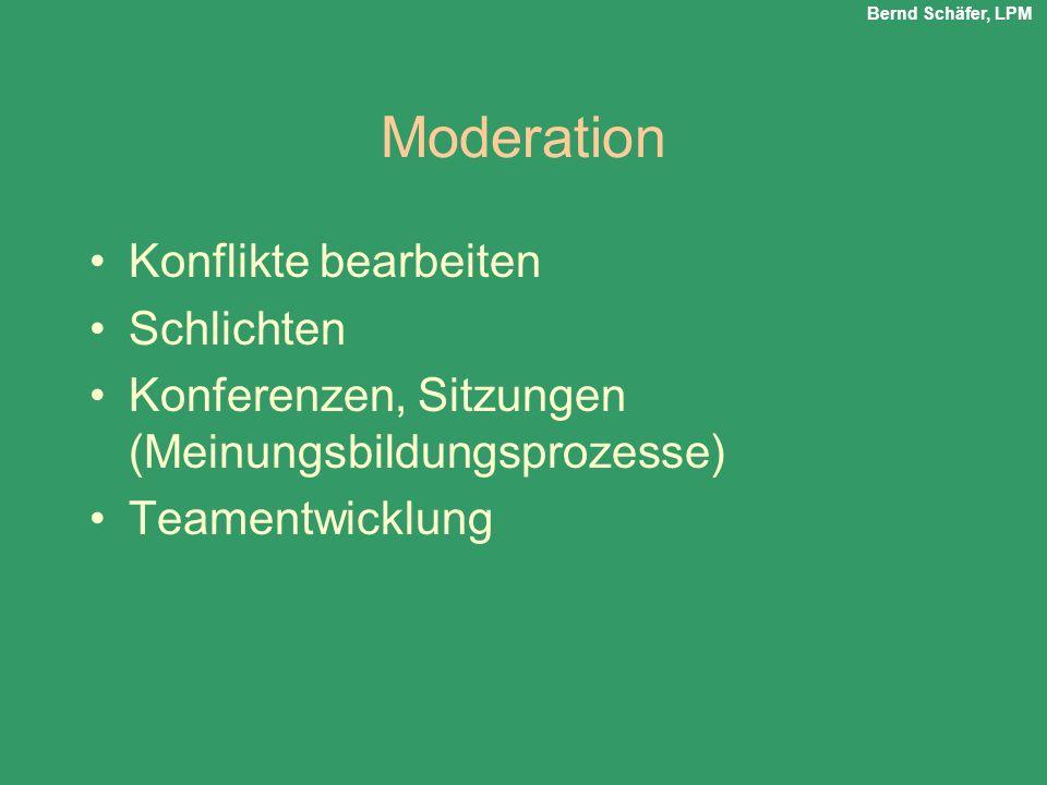 Moderation Konflikte bearbeiten Schlichten Konferenzen, Sitzungen (Meinungsbildungsprozesse) Teamentwicklung Bernd Schäfer, LPM