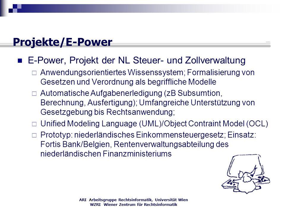 ARI Arbeitsgruppe Rechtsinformatik, Universität Wien WZRI Wiener Zentrum für Rechtsinformatik Projekte/E-Power E-Power, Projekt der NL Steuer- und Zol