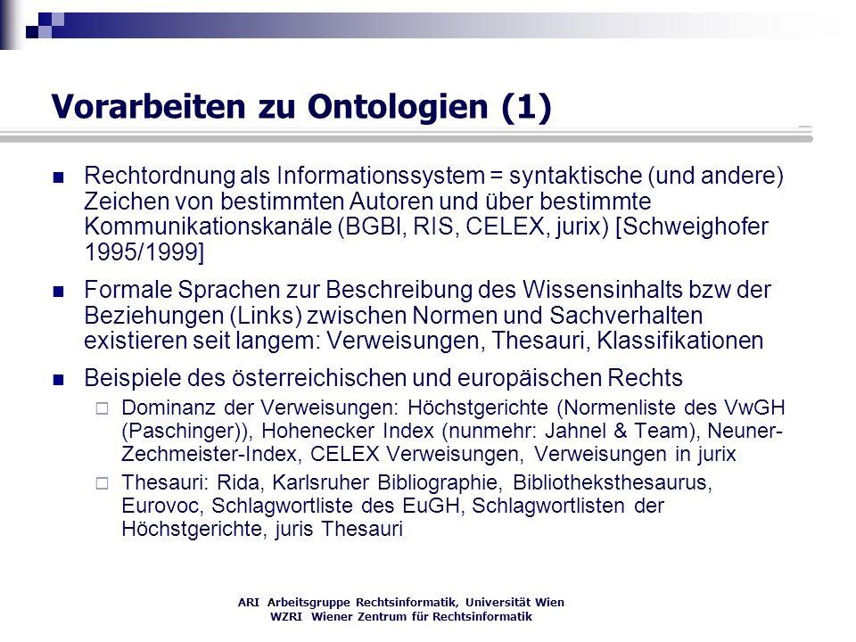 ARI Arbeitsgruppe Rechtsinformatik, Universität Wien WZRI Wiener Zentrum für Rechtsinformatik Vorarbeiten zu Ontologien (1) Rechtordnung als Informati