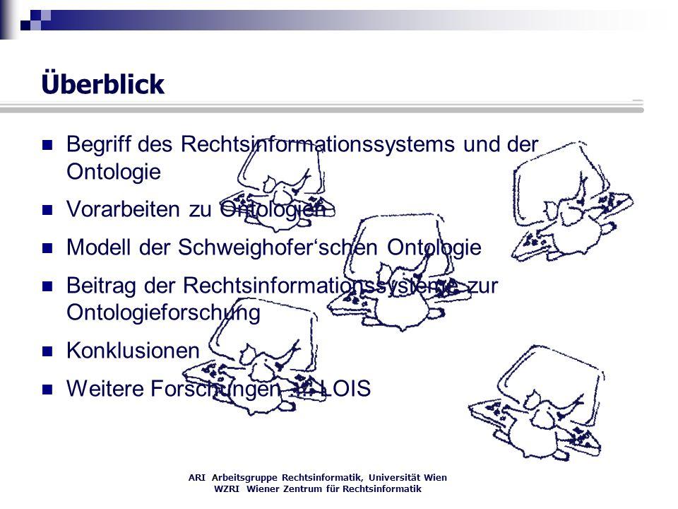 ARI Arbeitsgruppe Rechtsinformatik, Universität Wien WZRI Wiener Zentrum für Rechtsinformatik Überblick Begriff des Rechtsinformationssystems und der