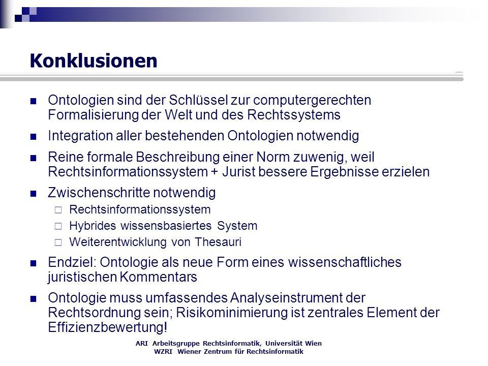 ARI Arbeitsgruppe Rechtsinformatik, Universität Wien WZRI Wiener Zentrum für Rechtsinformatik Konklusionen Ontologien sind der Schlüssel zur computerg