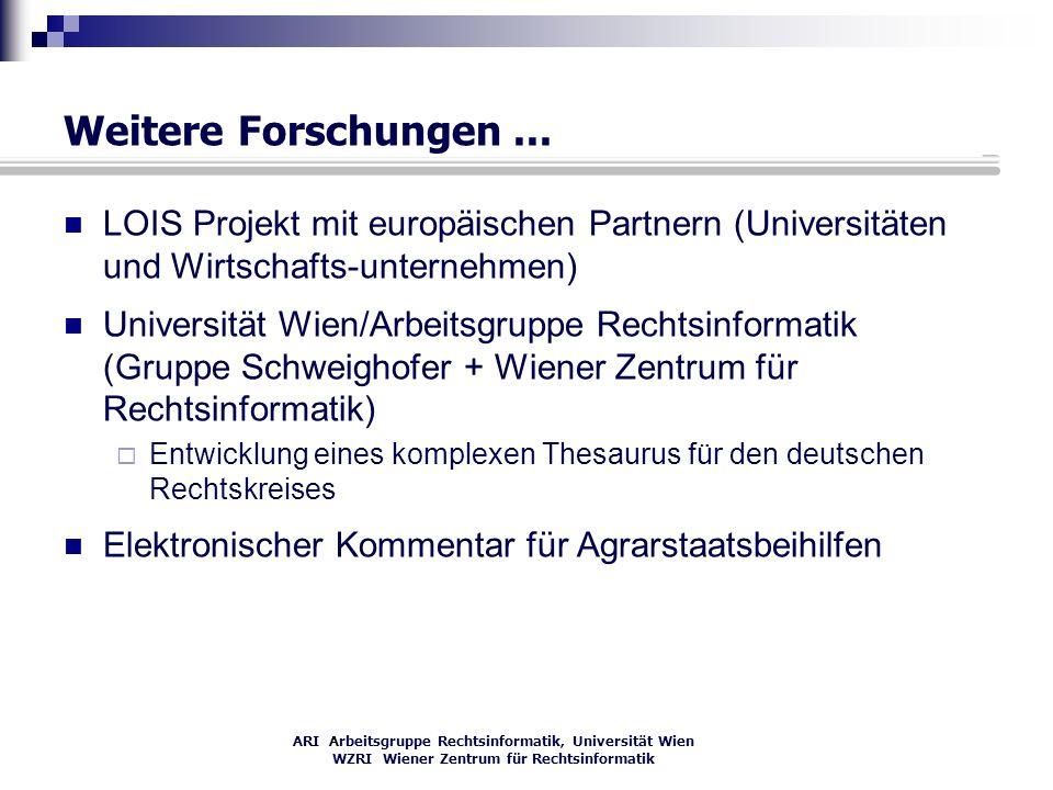 ARI Arbeitsgruppe Rechtsinformatik, Universität Wien WZRI Wiener Zentrum für Rechtsinformatik Weitere Forschungen... LOIS Projekt mit europäischen Par