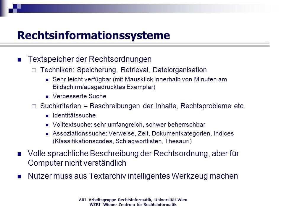 ARI Arbeitsgruppe Rechtsinformatik, Universität Wien WZRI Wiener Zentrum für Rechtsinformatik Rechtsinformationssysteme Textspeicher der Rechtsordnung