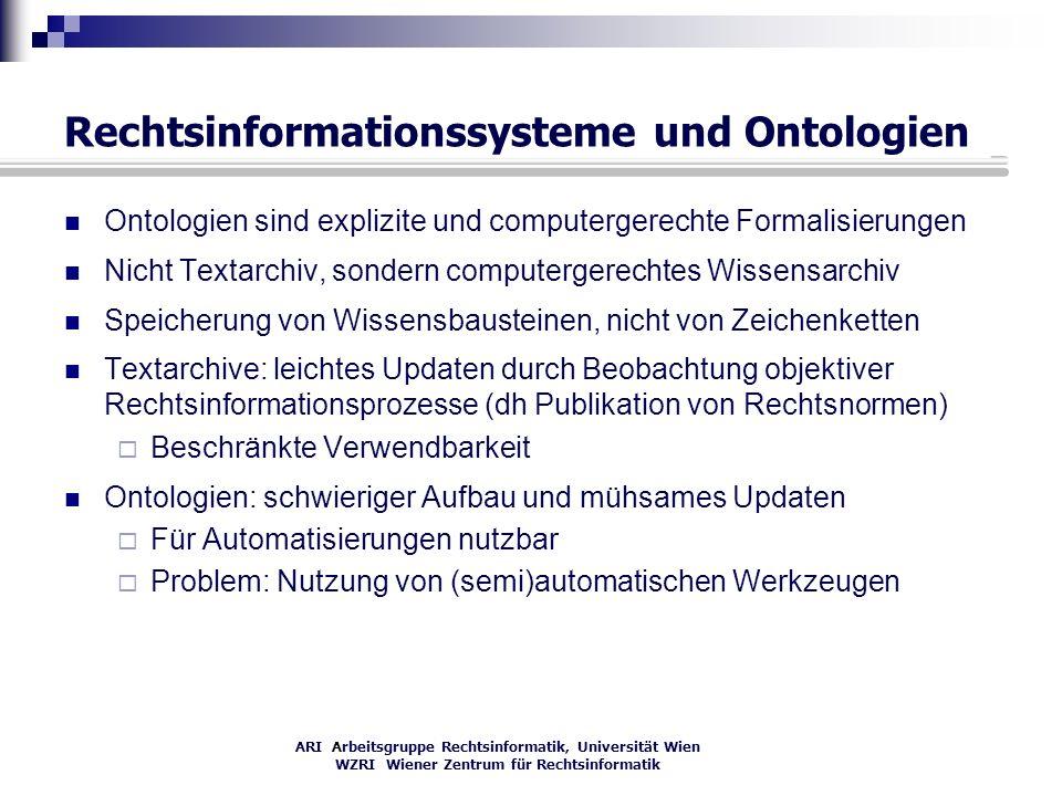 ARI Arbeitsgruppe Rechtsinformatik, Universität Wien WZRI Wiener Zentrum für Rechtsinformatik Rechtsinformationssysteme und Ontologien Ontologien sind