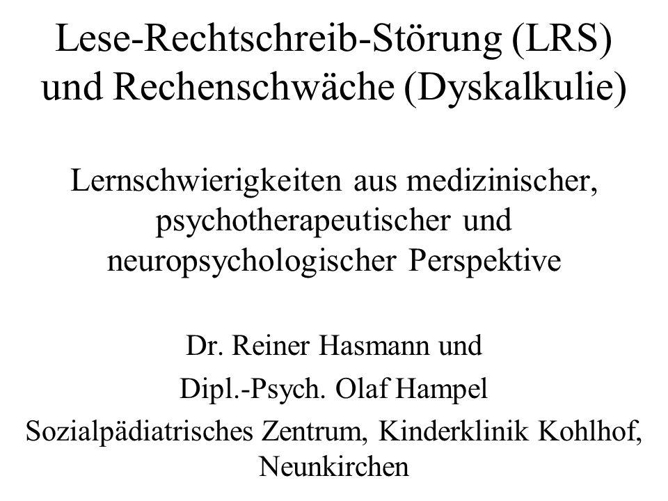 Fallbeispiel Marie: Neuropsychologische Diagnostik K-ABC (SIF 89; SED 109; SGD 76; Untertest Rechnen 89; Deutliche Schwäche in der Raumlagewahrnehmung) HAWIK III (GT 105; VT 120; HT 87; Schwächen in Raumlagewahrnehmung) ATK (Bestätigung der Störung der räumlich- konstruktiven Wahrnehmung bei gleichzeitig typischen klinischen Symptomen: Marie verläuft sich auf Schulweg und in Schulhaus und kann Analoguhr nicht lesen) ZAREKI (Diagnose der Dyskalkulie bestätigt)