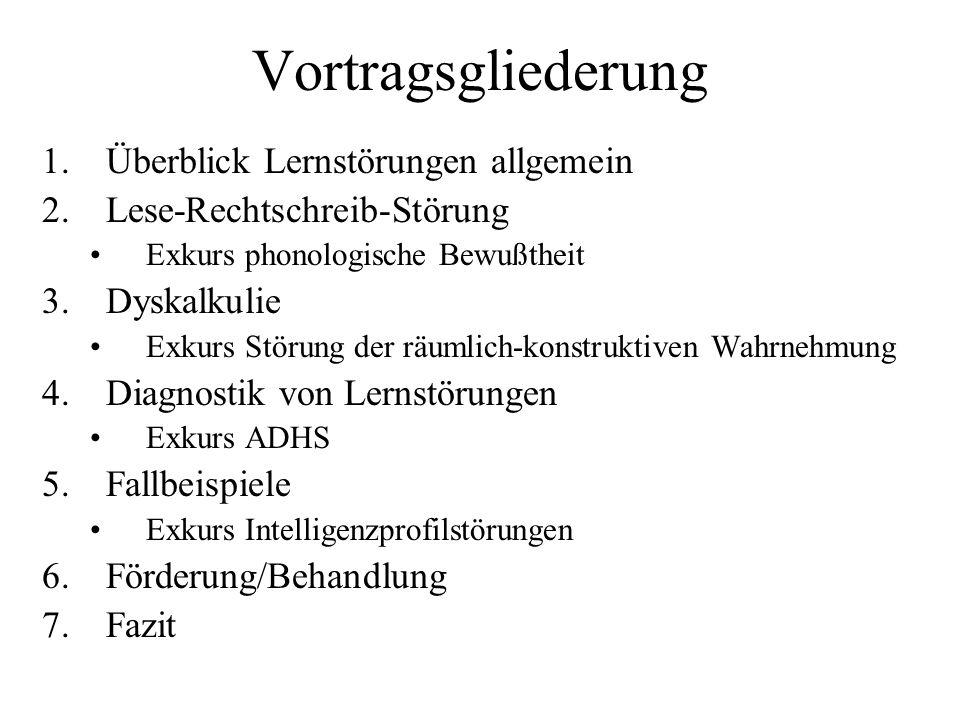 Vortragsgliederung 1.Überblick Lernstörungen allgemein 2.Lese-Rechtschreib-Störung Exkurs phonologische Bewußtheit 3.Dyskalkulie Exkurs Störung der rä