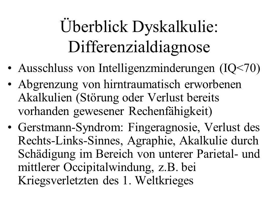 Überblick Dyskalkulie: Differenzialdiagnose Ausschluss von Intelligenzminderungen (IQ<70) Abgrenzung von hirntraumatisch erworbenen Akalkulien (Störun